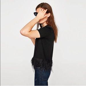 Anthropologie W5 Black fur trim blouse